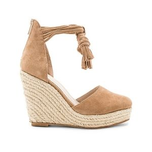 RAYE Dixie Tassel Espadrilles Wedge Sandals Tan